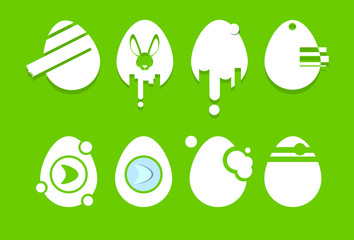Decorated Eggs Set Icon Collection Easter Holiday