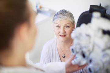 Senior woman at the eye doctor