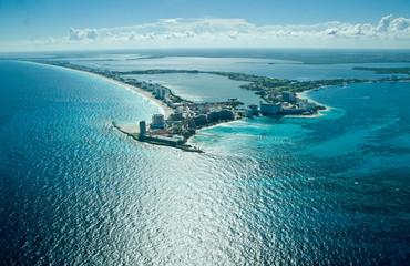 Aerial view of cancun coastline, Mexico