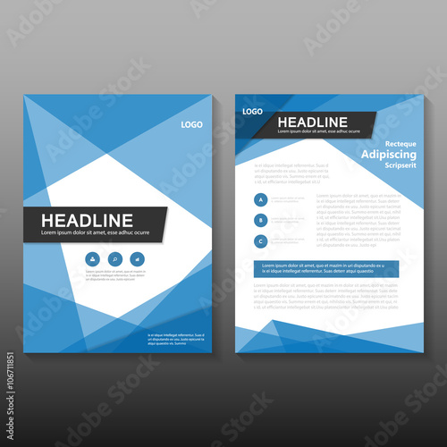 Triangle Blue Vector Leaflet Brochure Flyer Template Design Book