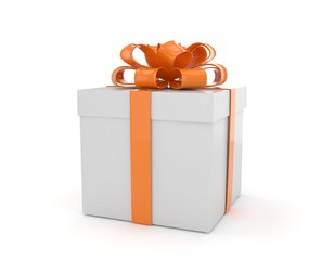 gift box with bows isolated on white. 3D rendering.