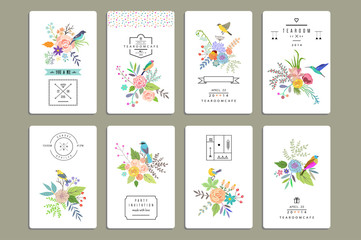 Hand Drawn vintage floral elements. Set of 8 cards with flowers