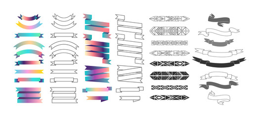 Set of labels, ribbons and design elements. Vector. Isolated.