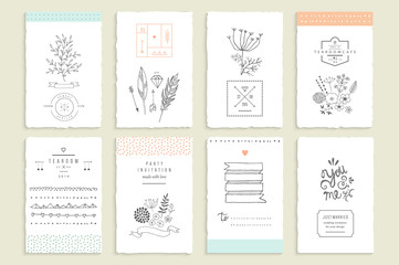 Hand drawn collection of romantic invitations. Wedding, marriage