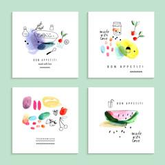 Lamas personalizadas para cocina con tu foto Watercolor art. Fruits, berries. Set of four creative cards.