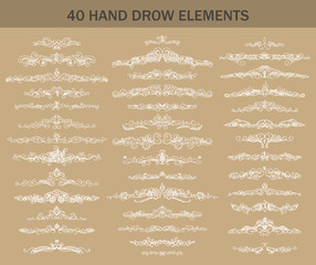 Collection of vintage patterns. Flourishes calligraphic ornaments. Retro style of design elements, divider, postcard, banners, logos. Vector template. Hand-drawn.