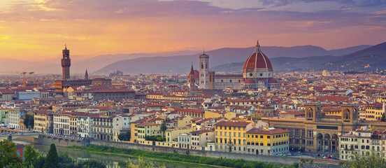 Aluminium Prints Florence Florence Panorama. Panoramic image of Florence, Italy during beautiful sunset.