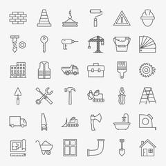 Building Construction Line Art Design Icons Big Set