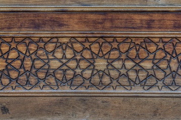 Islamic decoration on wood in Kashan, Iran