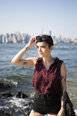 USA, New York City, Brooklyn, portrait of tattooed young woman