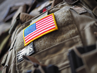 Plate Carrier with USA flag patch shallow depth of field