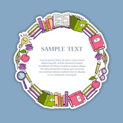 Cute illustration of hand drawn decorative frame on the theme of books, education