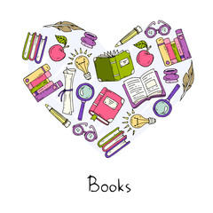 Stylized heart on the theme of books and education