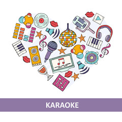 Stylized heart on the theme of karaoke and music