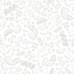 Vector seamless pattern with hand drawn Italian pasta on white color