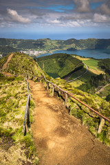 Walking path leading to a view on the lakes of Sete Cidades, Azo