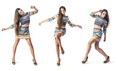 Woman model in short dress in full length in Studio on white bac