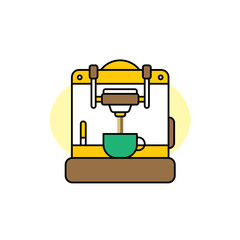 coffee machine cartoon theme