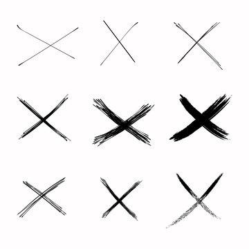 Set Vector Abstract Sketch Black Crosses