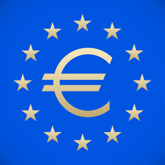 euro symbol on a blue background with stars, stylish vector illustration