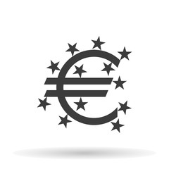 symbol euro currency icon with the stars on a white background, vector illustration stylish