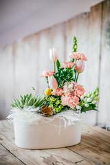 Obraz bukiet tulipanów i goździków - fototapety do salonu