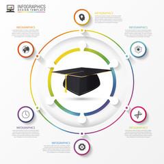 Education infographic template. Academic cap. Vector