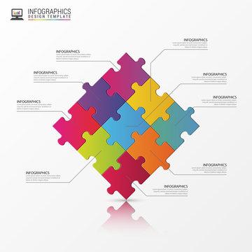 Puzzle piece infographics business concept. Vector