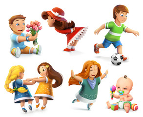 Children. Little girls and boys. Set of vector icons
