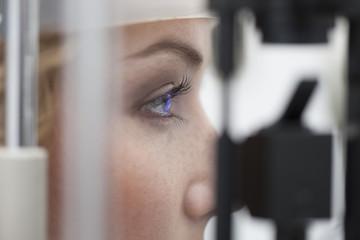 Woman receiving eye test