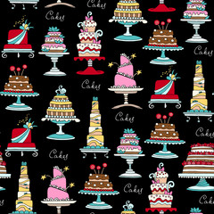 Vector seamless pattern with hand drawn colored cakes on black color
