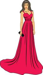 Beautiful woman in a long red dress