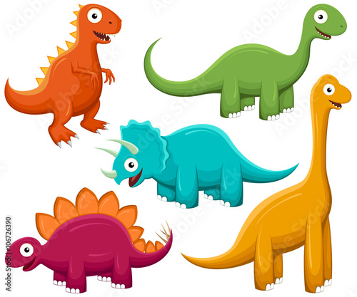 Vector illustration of a variety of brightly-colored happy cartoon dinosaurs.