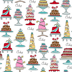Vector seamless pattern with hand drawn isolated cakes