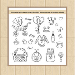 Vector set of hand drawn doodles on the theme of newborn baby