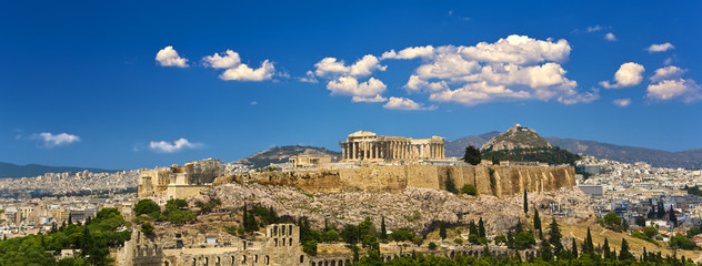 Stores photo Athènes Greece. Athens. Cityscape with the Acropolis of Athens (seen from Philopappos Hill)