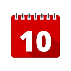 Calendar icon with long shadow - number 10