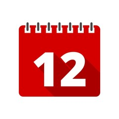 Calendar icon with long shadow - number 12