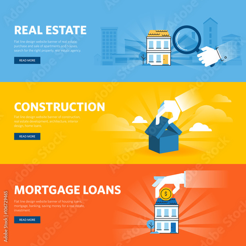 Set Of Flat Line Design Web Banners For Real Estate Construction Architecture And Interior