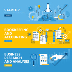 Set of flat line design web banners for company startup, finance, bookkeeping and accounting, business research and analysis. Vector illustration concepts for web and graphic design.
