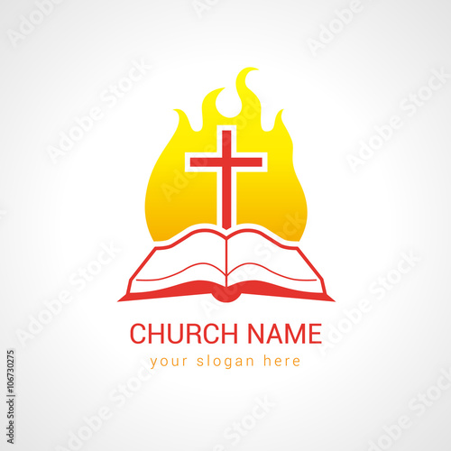 cross on the flame bible church logo template logo for the church in