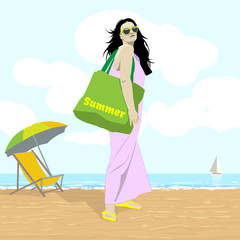 Seaside View. Woman in Lilac Dress in Yellow Sunglasses with Green Beach Bag. Beach Chair and Umbrella. Summer Holidays Tourist Tour Leaflet vector illustration. Digital background.