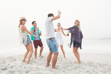 Group of friends having a party