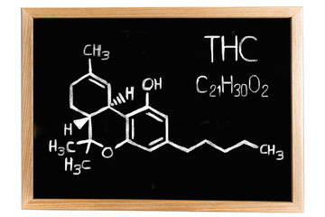 Blackboard with the chemical formula of Heroin