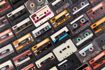 Assortment of retro cassette, closeup