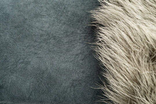 White Fur Over Gray Shearling