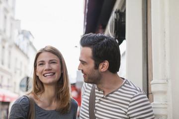 France, Paris, portrait of happy couple having fun
