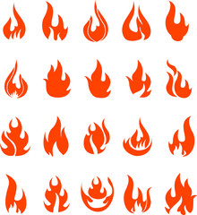 Red fire flat icons