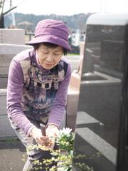 お彼岸にお墓参りをする80歳の母