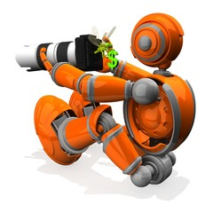 3D Photographer Robot Orange Color With DSLR Camera And White Lens, Dragonfly Out From Camera Have A Money Symbol